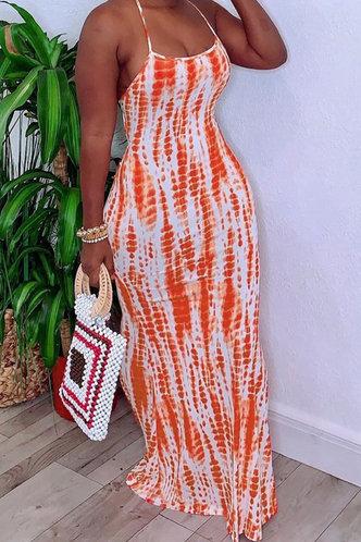 front_Caroline Ella Orange Tie Dye Cami Dress