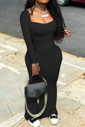 front_Plain  Black Maxi Dresses
