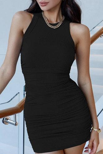 front_Carmelita Black Ruched Dress