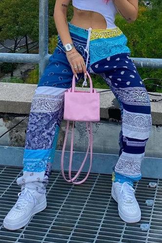 back_Mid Waist     Colorblock Pants