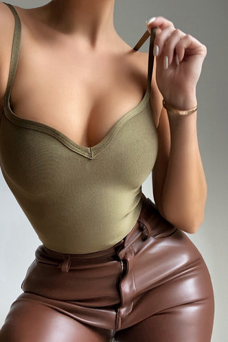 front_Strap Solid V Neck Army Green Bodysuits
