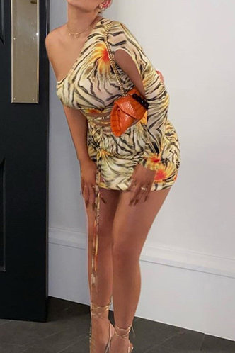 back_Bess Nakan Multicolor One Shoulder Lace Up Dress