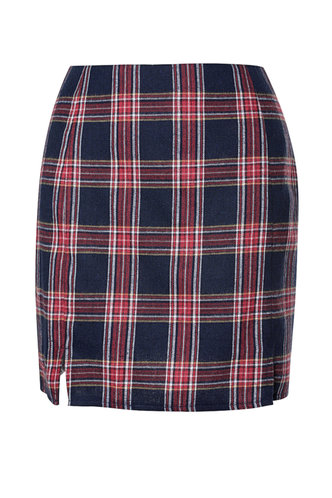 back_Plaid 'N Bougie Red And Blue Plaid Mini Skirt