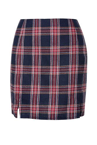 front_Plaid 'N Bougie {color} Mini Skirt