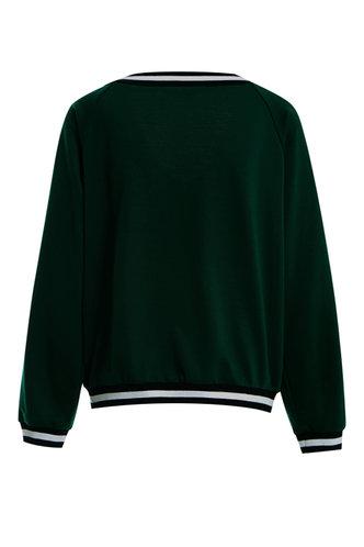 back_Do - re - mi Dark Green V Neck Sweatshirt