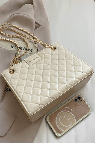 back_Solid Color Chain White Shoulder Bags