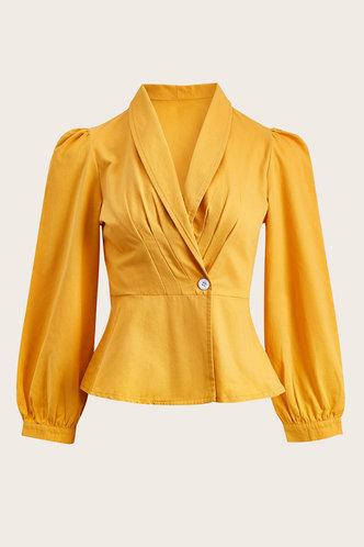 front_AlManamah Mustard Yellow Blouse