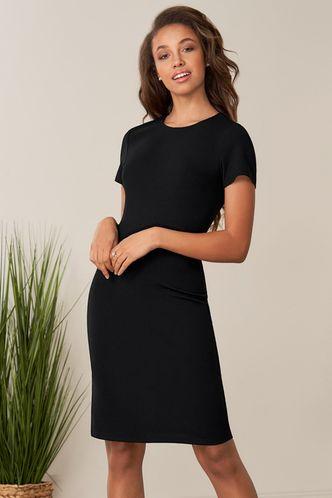 front_Artic Moon Black Midi Dress