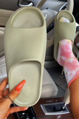 front_Cynthia Eunice Light Green Slide & Flip Flop