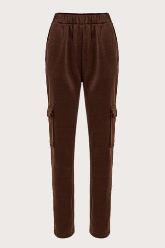 back_Mid Waist Plain Pocket Pencil Pants Brown Pants