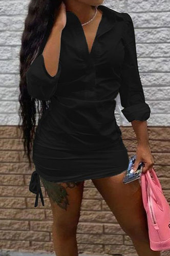 front_Carol Eudora Black Shirt Dress