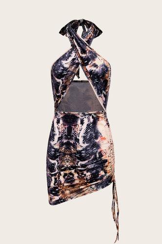 back_Gloria Kredeblo Snakeskin Print Crisscross Halter Cutout Front Dress