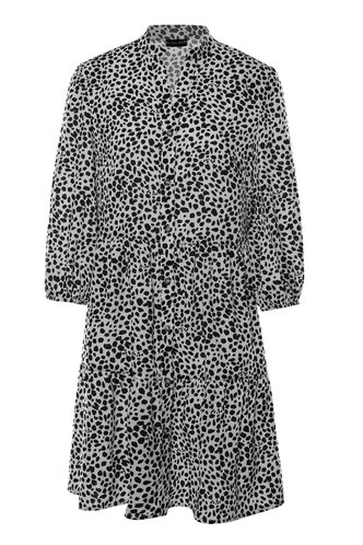 front_Fresh Squeezed Black And White Dalmatian Print Three-Quater Sleeve Dress