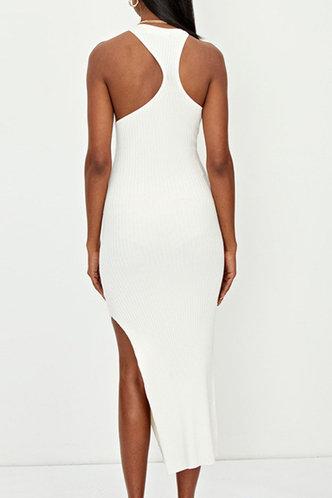 back_Karla Enid White High Split Hem Cutout Dress