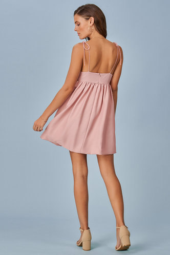 back_Summer Babydoll Grey Pink Mini Dress