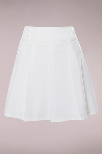 front_Aimee White Pleated Skirt
