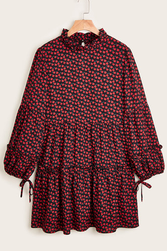 front_Quincy Black And Red Rose Print Dresses