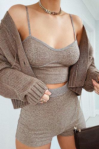 front_Plain Slim Seamed Khaki Sweatshirt Sets