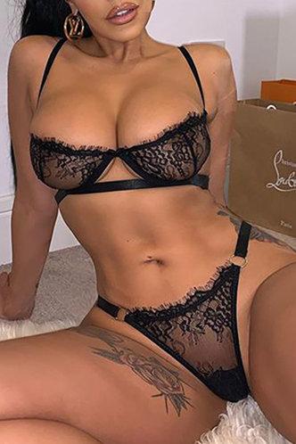 front_Plain Mesh Black Sexy Lingerie