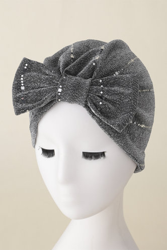 front_Casual Shirred Bowknot Grey Hats & Gloves