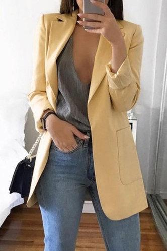 front_Casual Business Shirt Collar Plain Khaki Outerwear