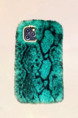 back_Blythe Eunice Green Snakeskin Print Plush Phone Case