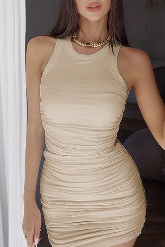 back_Carmelita Apricot Ruched Dress