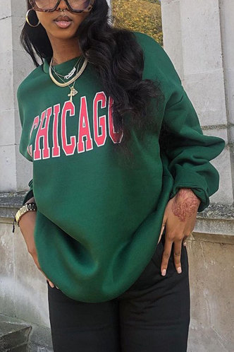 front_Sporty Hooded Collar Letter Print Green Sweatshirts & Hoodies