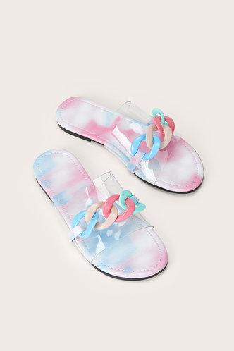 front_Sallie Elma Rainbow Print Chain Decor Slide Sandals