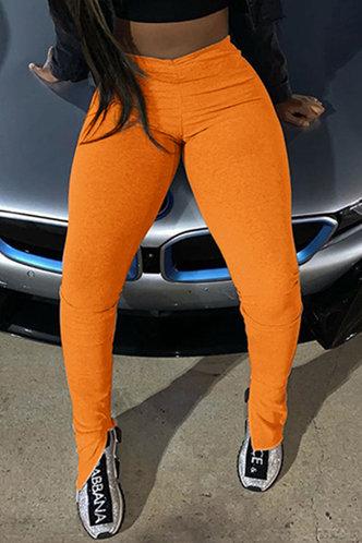 front_Mid Waist Orange Activewear Bottoms
