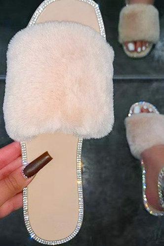 front_Crystal Irlan Beige Slide Sandals