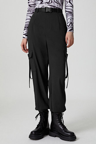 front_Strap Happy Black Cargo Pants