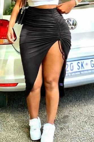 front_Bess Elvira Black Plus Drawstring Skirt