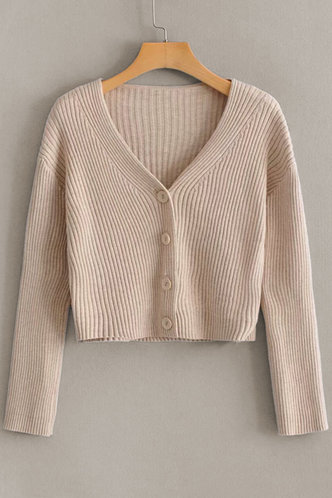 front_Giselle Apricot Ribbed Knit Cardigan