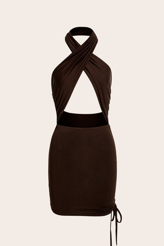 back_Bab Elsie Brown Halter Cutout Ruched Dress