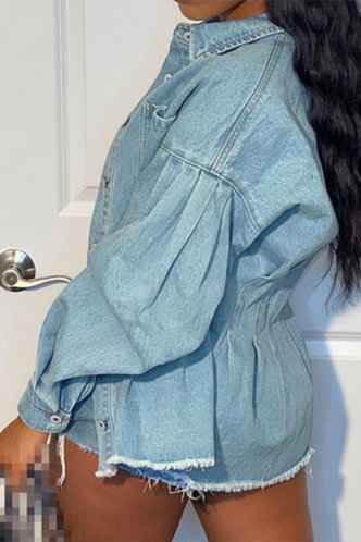 back_Casual Collar Neck Wash Light Blue Outerwear