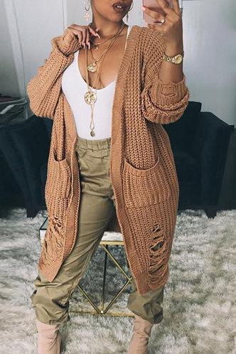 front_Collarless Solid Pocket Regular Sleeve Khaki Sweaters