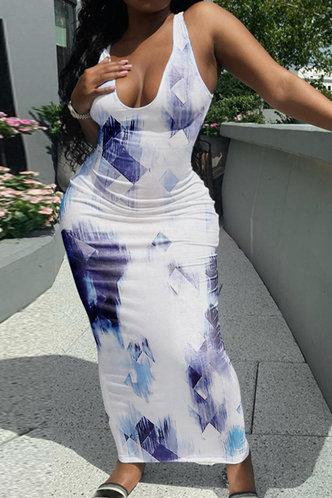front_Erin Kanjas Blue Tie Dye Bodycon Dress