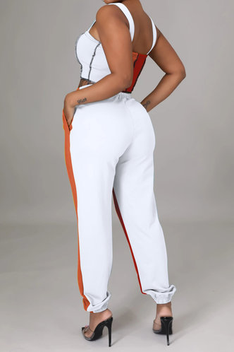 back_Liz Elizabeth Orange And Red Plus Size Pants Set