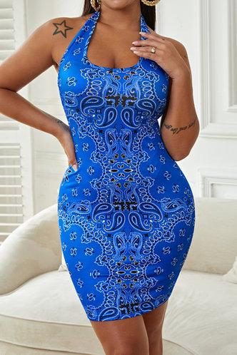 front_Hilda Nomum Blue Paisley Print Halter Bodycon Dress