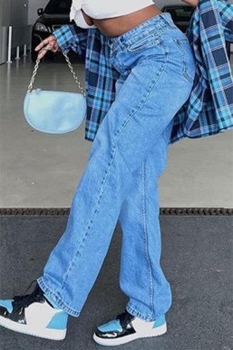 back_Plain Wash Blue Women Jeans