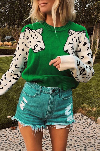front_Millicent Elaine Green Sweater