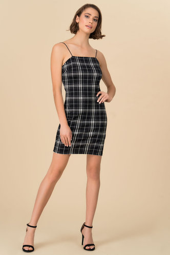 front_Incognito Black Plaid Slip Dress