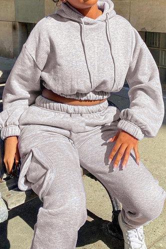 front_Pullover Light Grey Sweatshirt Sets