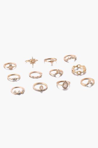 back_Ena Eleanore Gold Rhinestone Charm Ring 12pcs