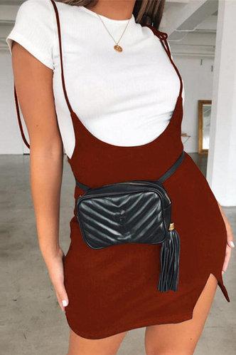 front_Udo Coffee Split Hem Overall Dress