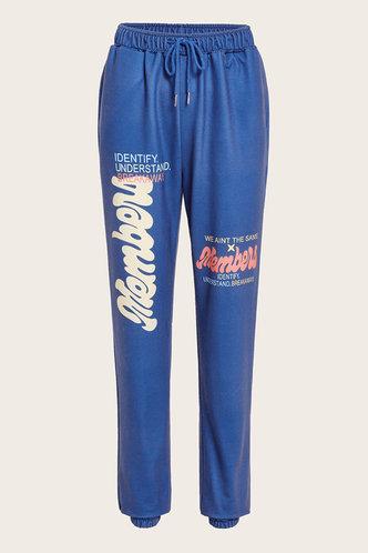 front_Mid Waist Letter Print   Blue Sweatpants