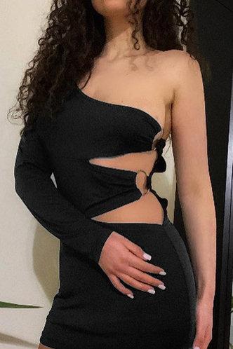 back_Ruth Enid Black Split Hem Bodycon Dress
