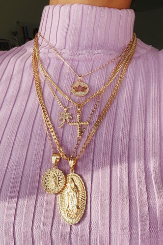 front_Rhinestone Sexy Gold Necklaces