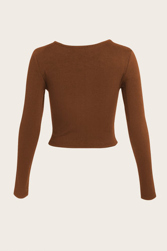 back_Venetta Mocha Brown Ribbed Top